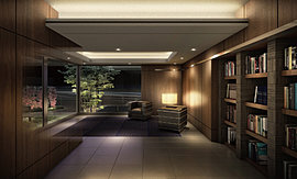ラウンジスペースにはライブラリーコーナーを設置する事で、多目的に使用できる空間に。 上質を意識した共用空間となっています。