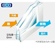 居室のサッシには省エネ効果を高めるペアガラスを採用しました。2枚のガラスに挟まれた空気層の断熱効果により結露を軽減し室内空調の効率を高めます