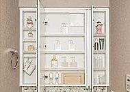 三面鏡裏に小物や化粧品を収納できるスペースを確保。便利なアクセサリーフックも付いています。