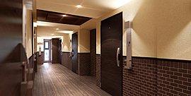 格調と気品、高級感を演出する内廊下を採用。各住戸へと続く廊下は、洋館のような高級感を演出する内廊下を採用しました。住まいとしての格調と気品を大切にデザインしています。