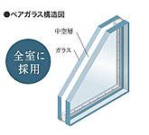 住戸内すべてのサッシに省エネ効果の高いペアガラスを採用。断熱性に優れているので、室内温度が外気の影響を受けにくく省エネにつながります。
