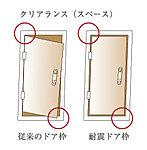 ドア枠と錠前部に特殊なクリアランス(隙間)を施し、地震による糧物の変形によってドア枠に多少の変形が生じてもドアが開放でjきます。
