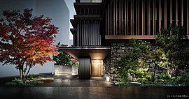 洗練された日本の美を纏い、この地の時間と風景に響き合う。受け継がれる番町の美質が今、新しい邸宅に結実する。古き良き日本建築に倣った水平構成の外観。