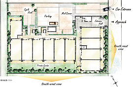 スクエアな敷地に南東向き・南西向き、2つの住棟を配置。南東向き住棟のバルコニー側は幅7m以上の道路に面し、南西向き住棟の1階にはテラス・専用庭付きプランを揃えた、開放的なランドプランです。