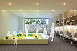 マンション内のコミュニティを育む場としてはもちろん、雨の日にも安心して子供たちを遊ばせることができるキッズルームとしてもご利用いただけます。