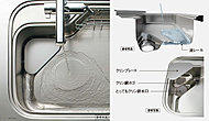 調理中の野菜洗いや、後片付けの皿洗いの水の力でゴミを排水口に向けて流してくれる新機能シンクです。