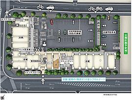 3方向を道路が囲む街区に誕生するレジデンス。その開放感のある敷地を活かし、全邸が南東向きの快適な空間になるように住棟を配置。