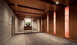 住まう方やゲストの迎賓スペースであるエントランスホールは、優雅な雰囲気に満ち溢れています。桜模様の和紙入りガラスや、温もりを感じる木目調のデザインにより、弘前らしい上質な空間を演出しています。