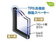 リビング・ダイニング、キッチン、リビング横の洋室の内窓には、断熱性を高めるLow-E複層ガラスを採用。