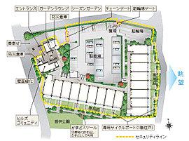 約5,400m2の広々とした敷地を活かし、開放的な敷地デザインを追求しています。住棟は、見合いの少ないレイアウトを実現することで、高いプライバシー性を確保。