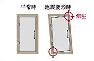ドア本体とドア枠の間に隙間を設けた対震玄関ドア枠。地震時、建物に歪みが生じても開閉できやすく配慮しています。