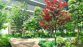 敷地のほぼ中央に「中庭」を配置し、四季を彩る多彩な植栽が、緑のオアシスとして、住む人に潤いを与えてくれます。