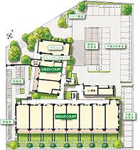 緑量豊かなランドスケープ。広々とした敷地を活かし、植栽スペースをふんだんに確保。くつろぎのスペースとして利用できるロビー兼集会室など、共用施設も充実させました。1階住戸にはガーデンライフを満喫できる専用庭を設けています。