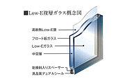 室外側ガラスにコーティングした遮熱高断熱Low-E膜が室内の暖房熱は外に逃がさず高い遮熱性能で日射熱をカットします。※共用廊下側・UB・勝手口以外に使用