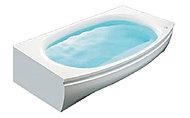 美しい弧を描くワイドフォルム。洗い場側にゆったりと張り出したゆとりある形。