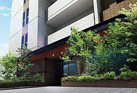 南東側にひらいたエントランスアプローチは、 緑豊かな植栽を施した心和むオアシス。街へ仕事へ、出かける時には躍動感とときめきを。