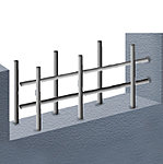 耐震性確保のために望ましいとされているのが、壁の鉄筋を2列にすることです。構造上の主要な壁(界壁)には鉄筋を二重に配置したダブル配筋を採用しています。