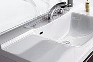 ふき掃除が簡単にできる、滑らかな洗面ボウル一体型の人造大理石ワークトップ。※Nタイプ(15F)、Oタイプは形状が異なります。