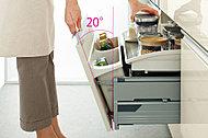 「テコの原理」を用いて、よく使うものがラクに取り出せる新しい収納システム