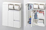 トイレットペーパーやチャーム、お掃除用具などのサニタリー用品がすっきり隠せます。