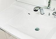 天板とボウルの継ぎ目がない一体型カウンタートップ。水はけの良い形状なので、お手入れがしやすく汚れも簡単に拭き取れます。