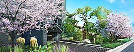 鮮やかな色彩と四季の彩りで迎える、迎賓の景。アプローチ一面がその豪奢な古木と華やかな桜をシンボルとする景で美しく描かれ、 白と黒で魅せるモダンなアプローチの一歩一歩が、美しいワンシーンとなり、迎賓のもてなしへと昇華します。