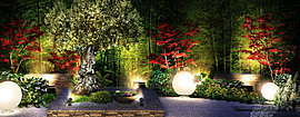 緑と光が織りなし、魅了される特別な空間。周囲にはモミジなどの日本の四季を感じさせる木々を配し、昼の光は伸びやかで温かな表情を、 夜には、ライトアップされた幻想的で豊かな時を紡ぐ空間が、見る人をその時々で魅了します。