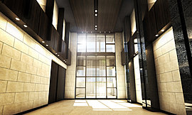 エントランスに一歩入ると、ゆったりと広がる二層吹き抜けの大空間に目を奪われる。訪れた人を迎えるのは自然石貼りの重厚さと、モノトーンのモダンな意匠が格式を感じさせる迎賓空間。