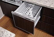 食器の片付けに便利な食器洗い乾燥機を標準装備しました。スライド収納式なので、すっきり納まり、場所をとりません。