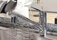 水・お湯を手軽に切り替えることができ、使い勝手の良いデザインの混合水栓。カートリッジを水栓本体に内蔵しており、いつでも清潔でおいしい水が楽しめます。