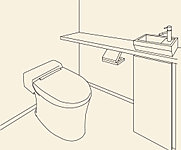 タンクが無いので、トイレ室内が広くなり、便器も便座もお掃除しやすく、すっきりキレイに使用できます。また、手洗いカウンター付きなので使いやすく、見た目もおしゃれな印象です。※手摺等が付く場合があります。