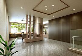 上質な私邸領域へと…。明るさと落ち着きが調和したエントランスホール。建物のクオリティを集約し、一歩足を踏み入れると自然にONとOFFを切り替えてくれるエントランスホール。