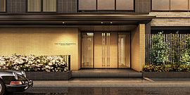 神宮の杜に覆われた岡崎通から東へ入ると、閑静な佇まいが息づく路。この落ち着いた趣に相応しい表情を与えようと、エントランスアプローチの素材は、京都伝統の聚楽調の壁を採用。