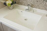 清潔感あふれるホワイトカラー。継ぎ目のないボウル一体型カウンターでお手入れも容易。