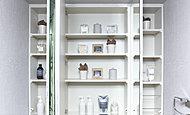 ミラー裏のスペースが収納となっており、化粧品や小物を収納することができます。