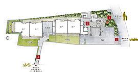 【1】アプローチ【2】エントランスホール【3】歩車分離設計【4】歩行者・自転車置場・バイク置場出入口