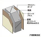 戸境壁は、住戸との遮音性と耐火性に配慮しています。※一部軸組下地です。