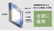 ニ枚のガラスの間に中空層を設け、断熱性能を高めた複層ガラスを全窓に採用。室内の冷暖房効率を高めると同時に結露対策にも効果があります。