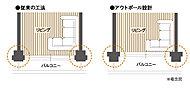 リビング側に柱を出さずバルコニーなど外側に出す設計を採用。室内に出っ張リがなくなリ広く使え家具などのレイアウトがしやすくなります(一部除く)