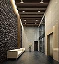 美しく優しい時間を宿すエントランスホール。都市での緊張を優しくほどく空間であるように、エントランスホールをデザインしました。静けさの中に、上質感と落ち着きが漂い、繊細な美意識を重ねた設えが出迎えます。