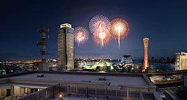 屋上に設けたテラススペースは、「みなとこうべ海上花火大会」を存分に愉しんでいただくために。※「みなと神戸海上花火大会」は開催日時や内容の変更、もしくは取り止めとなる場合もあります。