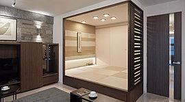 粋に、モダンに。畳の薫りと手触りに心和まされる和室。現代のインテリアや装飾にもなじむようにモダンテイストに仕上げました。