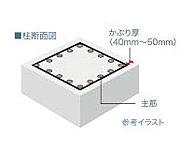 コンクリート被覆(かぶり厚)が厚いほど、中性化の進行を抑え、中に配した鉄筋が錆びにくくなります。