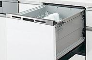 食器の出し入れがしやすいフルオープン型。汚れの量や食器の量が少ない時には、より節水・省エネで運転できる機能がついた省エネナビ付き。※1