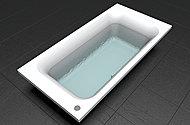 少ない湯量でもゆったりと全身が浸かれるデザインの浴槽で、節水とくつろぎを両立します。