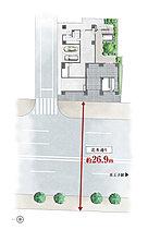 「オープンレジデンシア王子」の現地は北本通りに面した二方接道の角地。西面は前方の建物と約26.9m超の離隔距離がある開放に満ちたポジションです。
