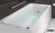 少ない水量でもゆったりと感じられる形を追求した浴槽で、節水とくつろぎを両立するデザインです。