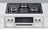 調理油の過熱や消し忘れを感知する安全機能。設定温度のキープや自動炊飯が可能な便利機能。両面焼き水なしグリルも搭載したガスコンロ。(Aタイプを除く)