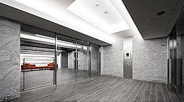 非接触キーによるオートロックシステムにより防犯性を高めた風除室。