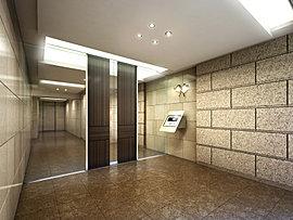都心の明るく、洗練されたイメージを反映させたエントランスホール。上質感のあるベージュ系の素材で構成し、住まう方や訪れる方を凛とした表情でお迎えする、ホテルライクな佇まいを創造しています。